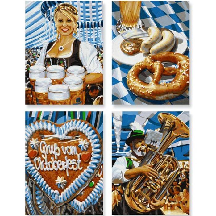 Набор для раскрашивания по номерам 4 картины «Октоберфест в Мюнхене», 24 х 18 см.Раскраски по номерам Schipper<br>Набор для раскрашивания по номерам 4 картины «Октоберфест в Мюнхене», 24 х 18 см.<br>