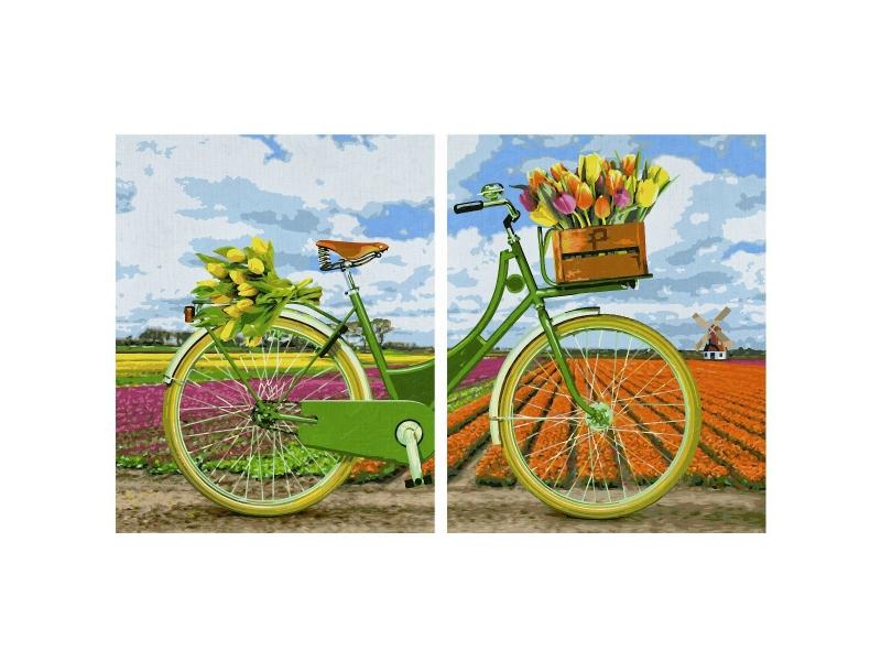 Диптих для раскрашивания - Голландский велосипед, 80 х 50см.Раскраски по номерам Schipper<br>Диптих для раскрашивания - Голландский велосипед, 80 х 50см.<br>