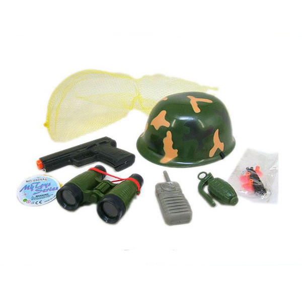 Набор солдата - Пистолет с присосками, каска, аксессуары, в сеткеНаборы полицейского и пожарного<br>Набор солдата - Пистолет с присосками, каска, аксессуары, в сетке<br>