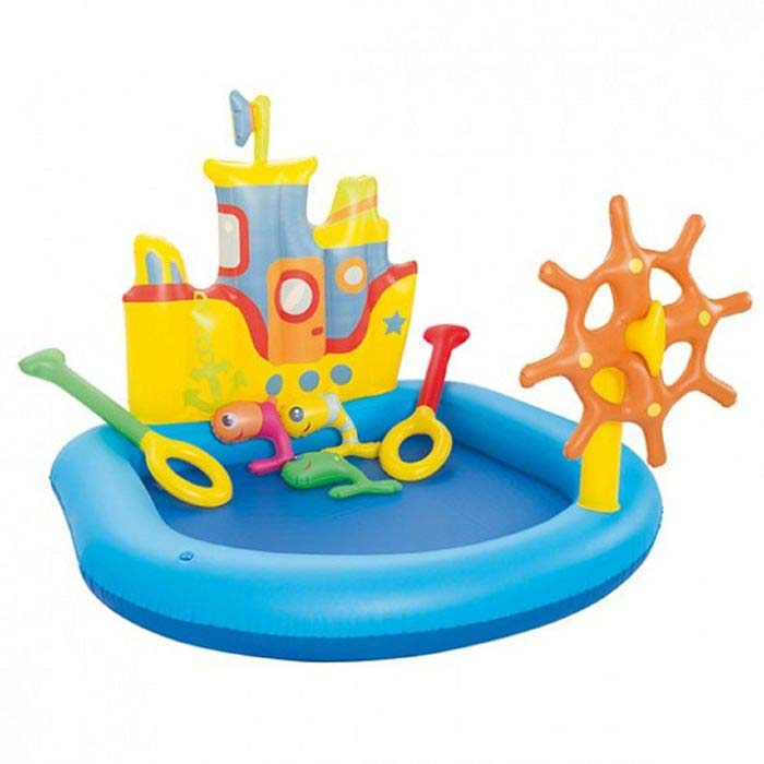 Надувной бассейн – Кораблик с принадлежностями для игр, 5 штук, 140 х 130 х 104 см, 84 л