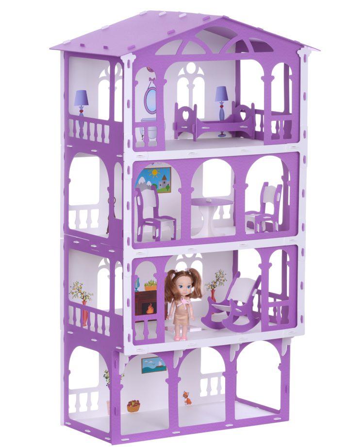 Домик для кукол - Елена, бело-сиреневый, с мебелью