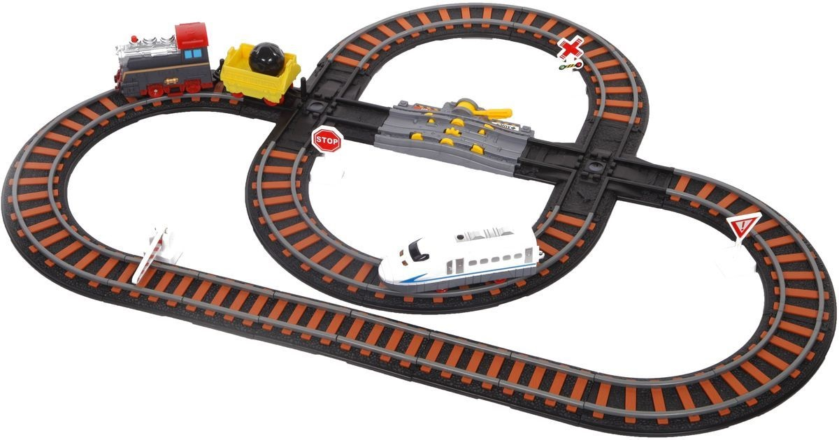 Железная дорога с двумя перекрестками и механизмом остановки – Останови крушениеДетская железная дорога<br>Железная дорога с двумя перекрестками и механизмом остановки – Останови крушение<br>