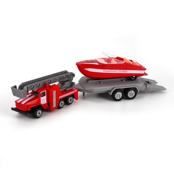 Купить Коллекционный металлический набор - Пожарная служба, Урал с лодкой на прицепе, Технопарк