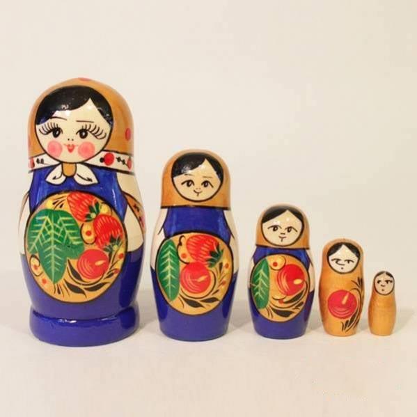 Матрешка – Хохлома, синяя 5 кукольная 11-14 смМатрешка<br>Матрешка – Хохлома, синяя 5 кукольная 11-14 см<br>
