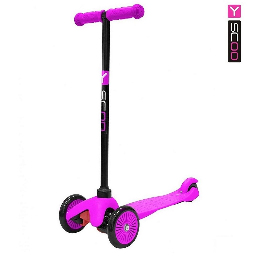 Купить Самокат Y-Scoo mini A-5 Simple с цветными колесами, розовый
