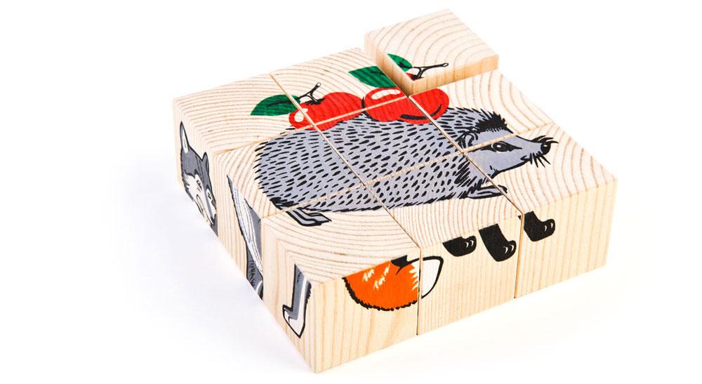 Набор из 9-и кубиков - Животные лесаКубики и конструкторы<br>Набор из 9-и кубиков - Животные леса<br>