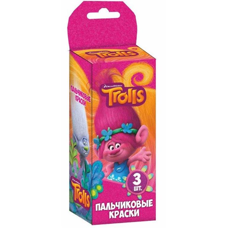 Краски пальчиковые – Тролли, 3 цветаТролли игрушки<br>Краски пальчиковые – Тролли, 3 цвета<br>