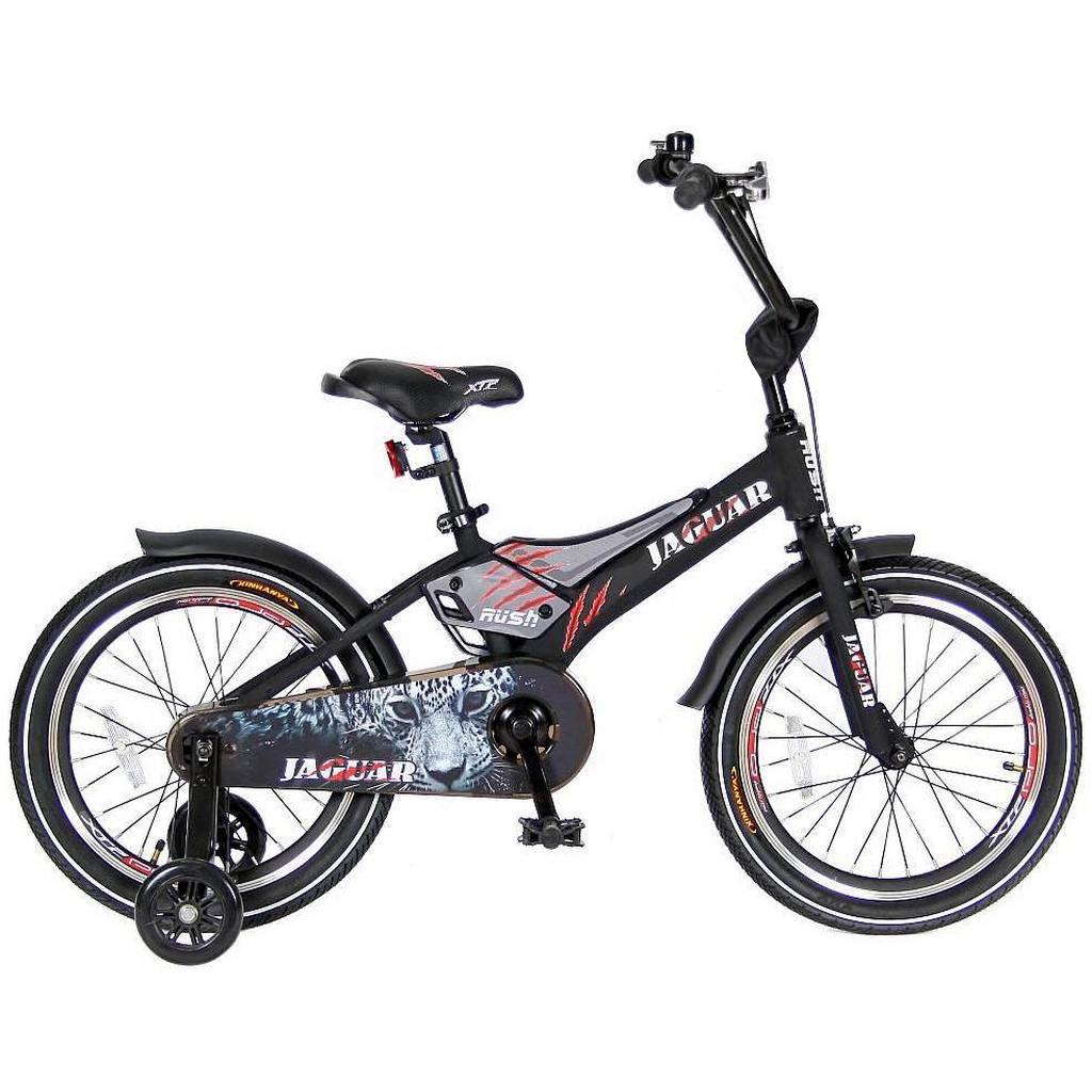 Двухколесный велосипед Rush Jaguar диаметр колес 18 дюймов, черныйВелосипеды детские<br>Двухколесный велосипед Rush Jaguar диаметр колес 18 дюймов, черный<br>