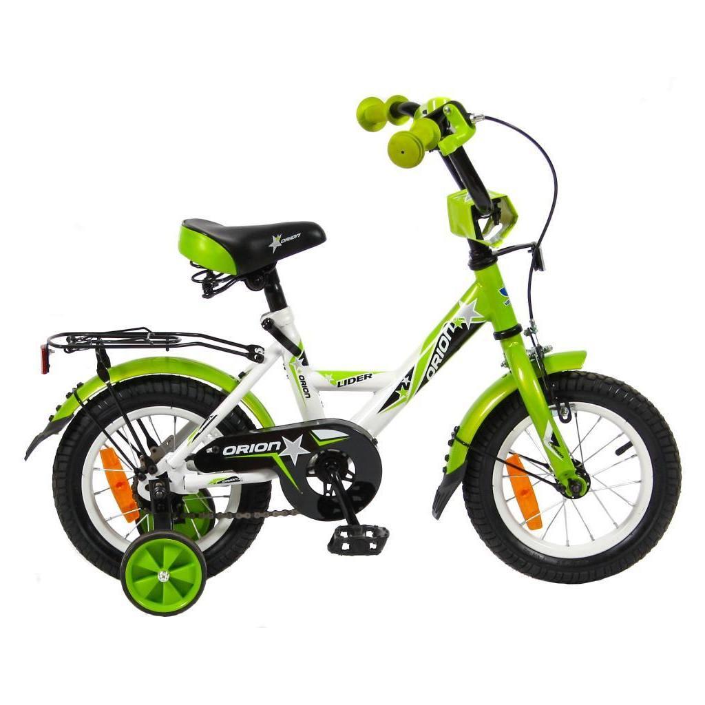 Двухколесный велосипед Lider Orion диаметр колес 12 дюймов, белый/зеленый
