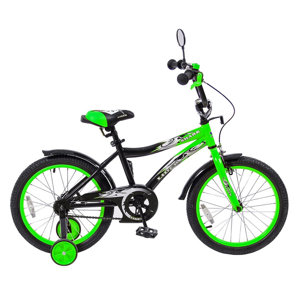 Двухколесный велосипед Lider shark, диаметр колес 18 дюймов, зеленыйВелосипеды детские<br>Двухколесный велосипед Lider shark, диаметр колес 18 дюймов, зеленый<br>