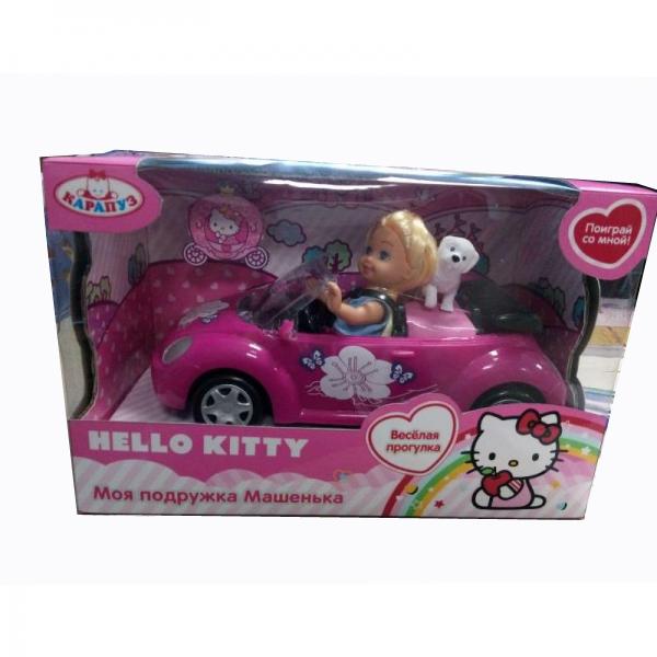 Кукла Машенька из серии Hello Kitty, с машиной и собакой 12 см, Карапуз  - купить со скидкой