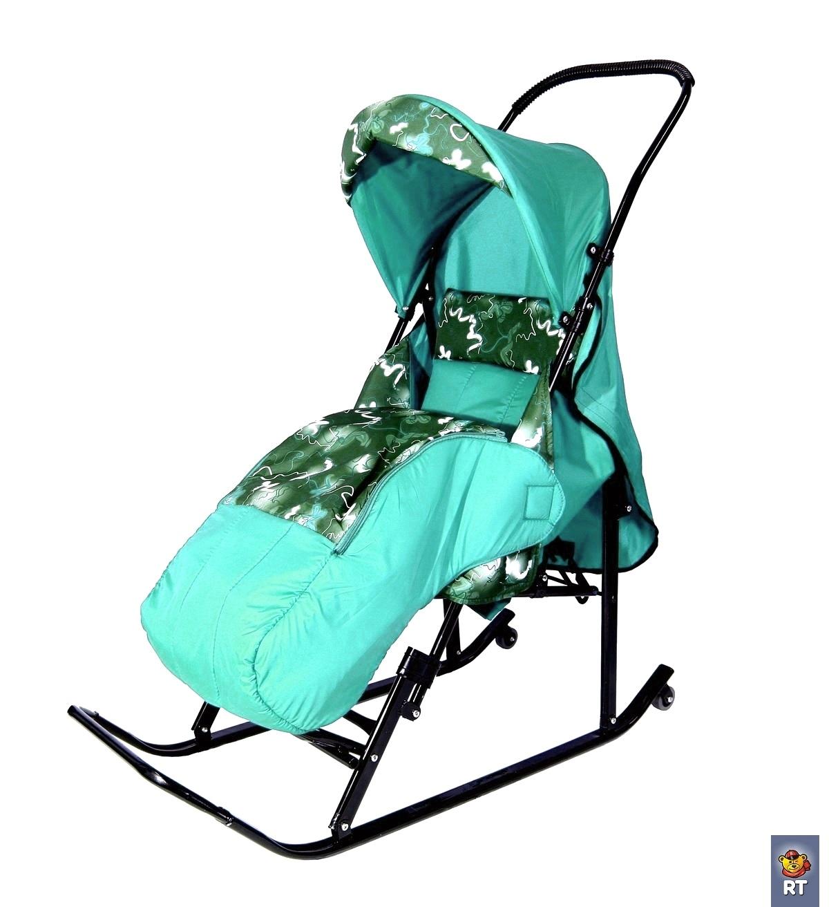 Купить Санки-коляска «Шустрик» Имго-6 с колесиками. Бирюза, RT