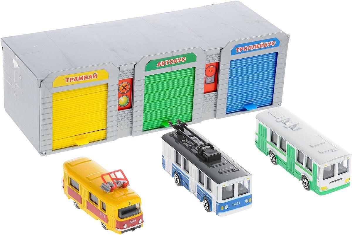 Купить Гараж. Набор 3 в 1. Троллейбус, автобус и трамвай, Технопарк