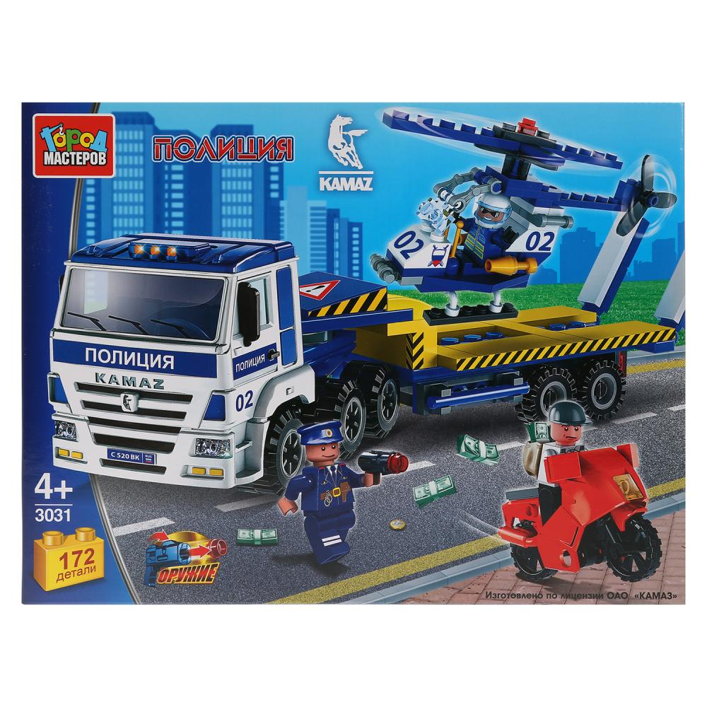 Конструктор - Камаз: полиция перевозчик с вертолетом, 172 деталей, Город мастеров  - купить со скидкой