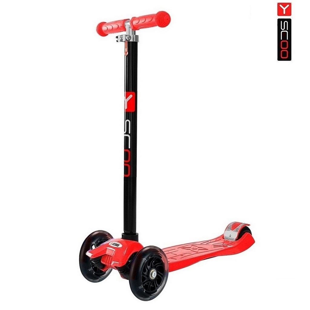 Самокат RT Maxi Shine A20 с 4-мя светящимися колесами, redТрехколесные самокаты<br>Самокат RT Maxi Shine A20 с 4-мя светящимися колесами, red<br>