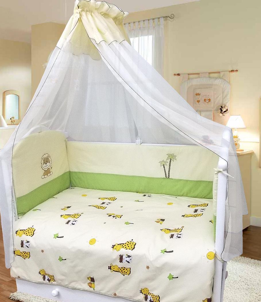Комплект в кроватку - Веселые друзья, 7 предметовДетское постельное белье<br>Комплект в кроватку - Веселые друзья, 7 предметов<br>