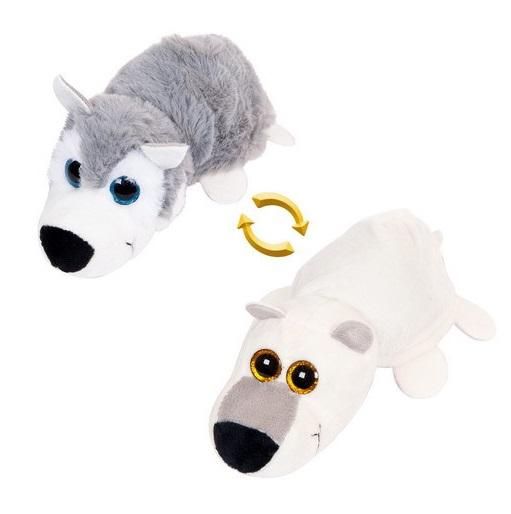 Мягкая игрушка Перевертыши – Волк/Белый медведь, 16 смДикие животные<br>Мягкая игрушка Перевертыши – Волк/Белый медведь, 16 см<br>