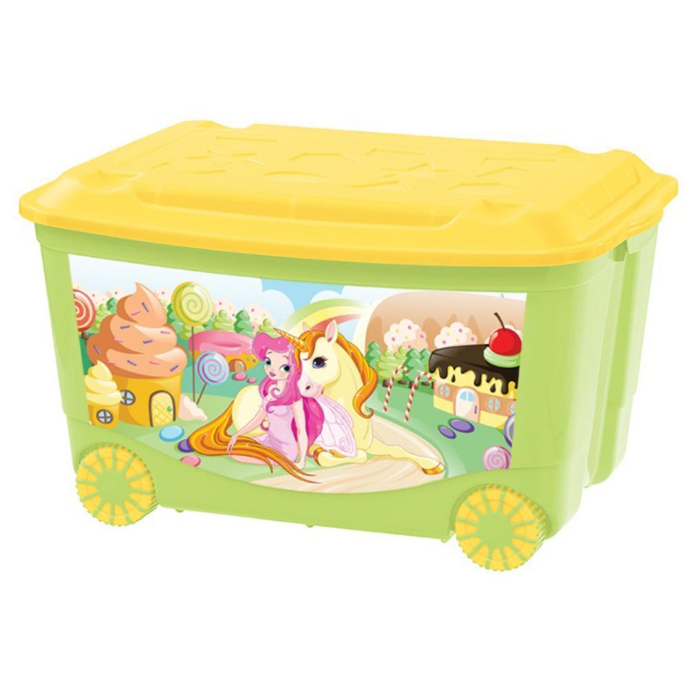 Ящик для игрушек с аппликацией, на колесах, зеленый по цене 1 310