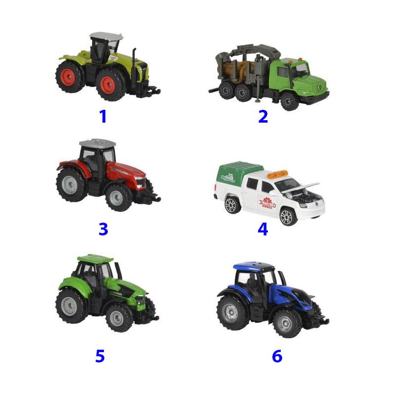 Машинки из серии Фермерская техника, 6 видов, 7 см.Игрушечные тракторы<br>Машинки из серии Фермерская техника, 6 видов, 7 см.<br>