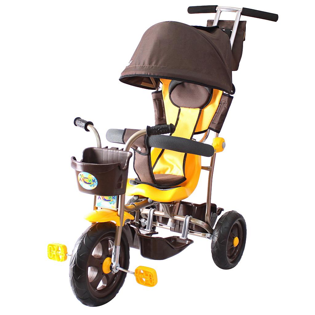 Л001 3-х колесный велосипед Galaxy  Лучик с капюшоном, коричнево-желтый - Велосипеды детские, артикул: 158978