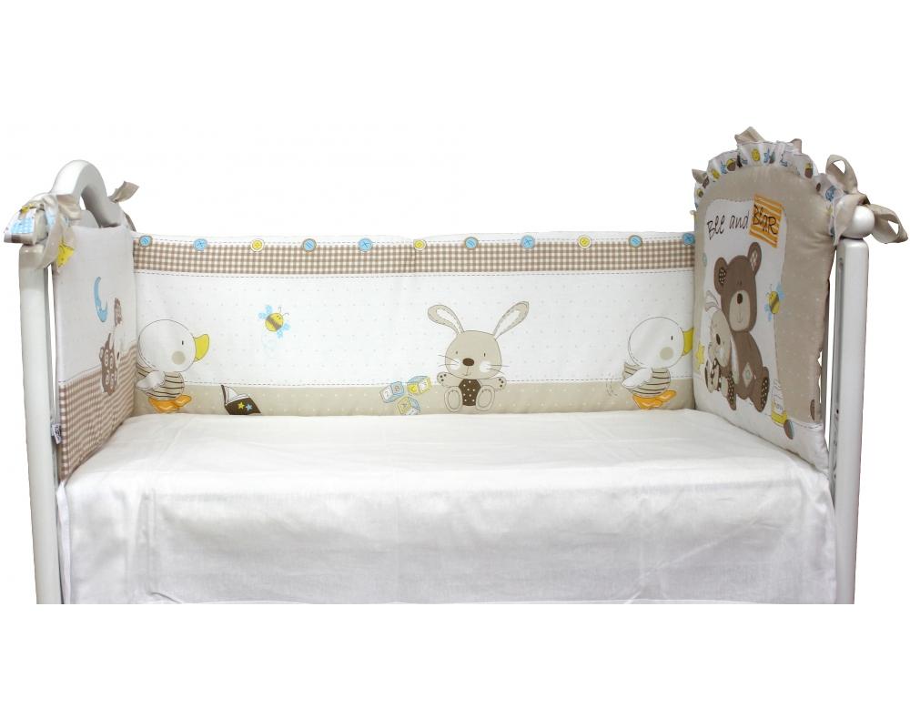 Бампер в кроватку – Мишка с зайкойБампер в кроватку<br>Бампер в кроватку – Мишка с зайкой<br>