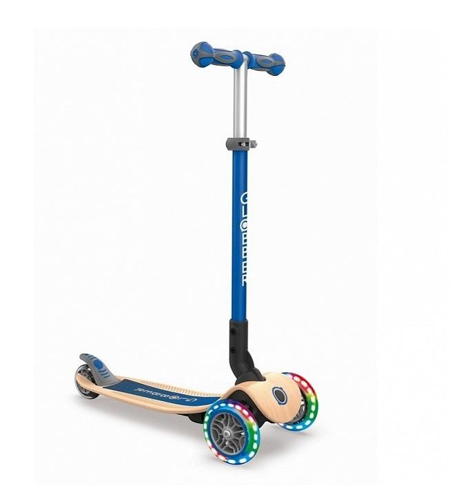 Купить Трёхколёсный самокат Globber Primo Foldable Wood Lights синий