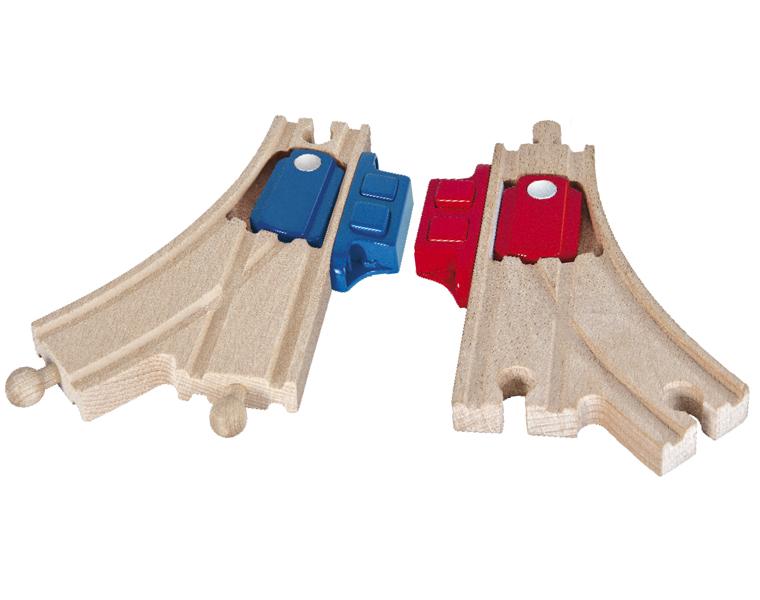 Раздваивающееся полотно для деревянной железной дороги с переключателем, 2 деталиЖелезная дорога для малышей<br>Раздваивающееся полотно для деревянной железной дороги с переключателем, 2 детали<br>