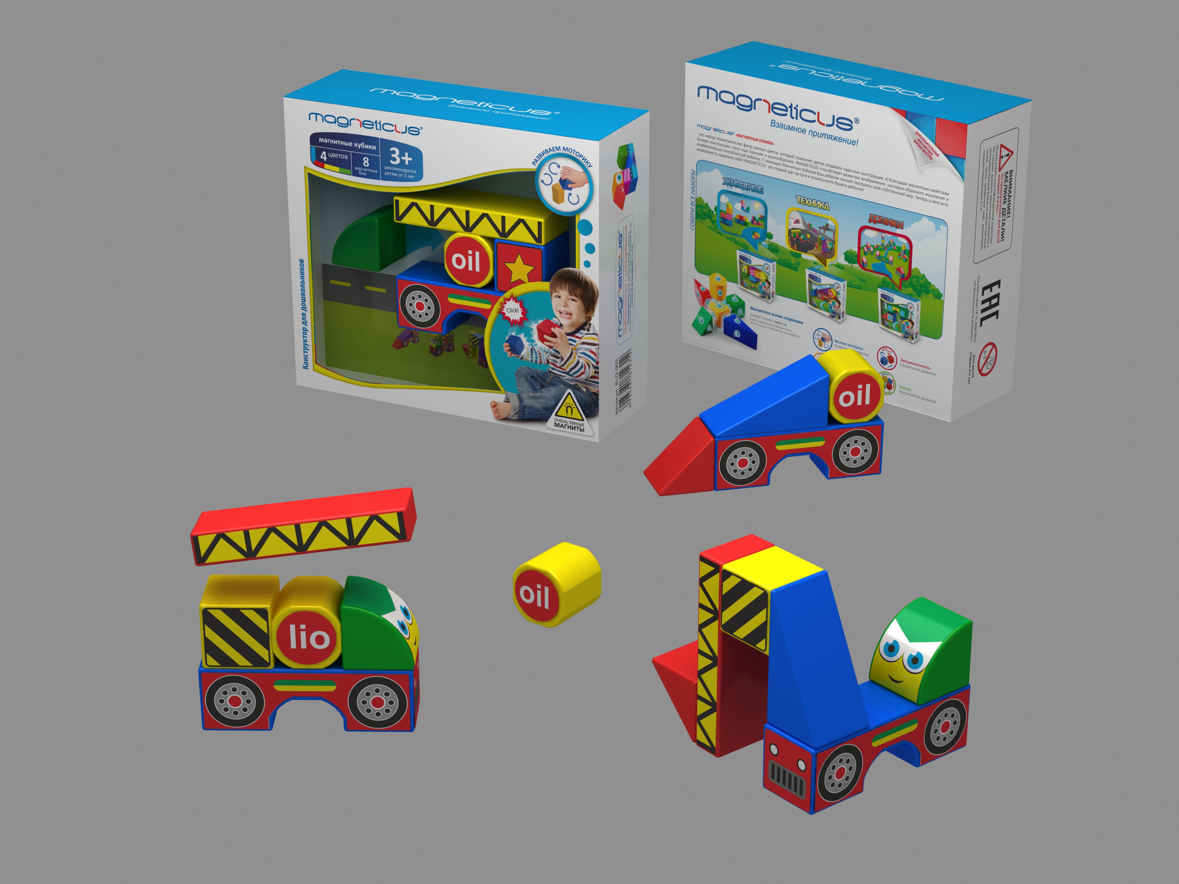 Магнитные кубики  Стройка - Кубики, артикул: 150337