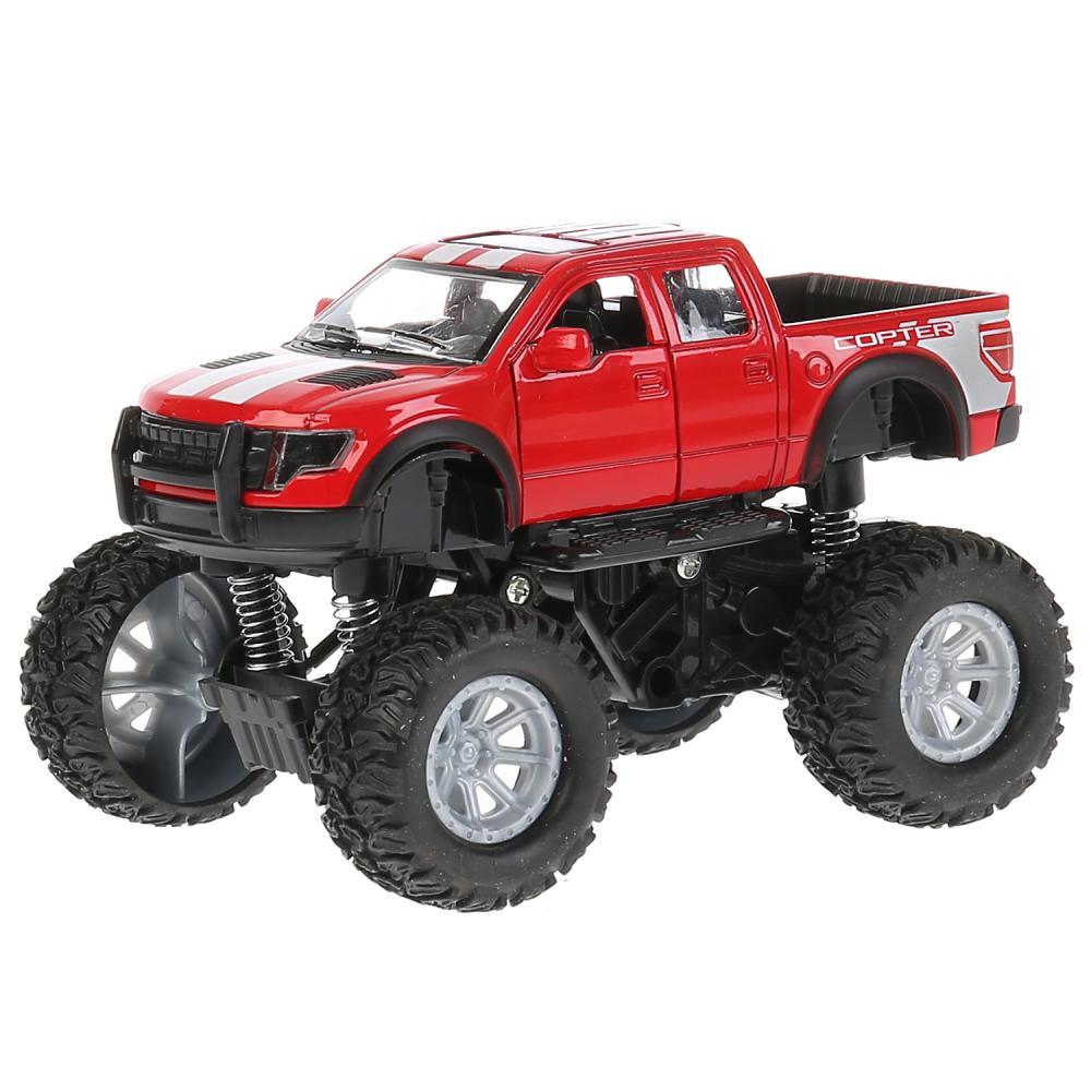 Машина металлическая Бигфут 12,5 см, открываются двери, инерционная, подвеска, красная фото