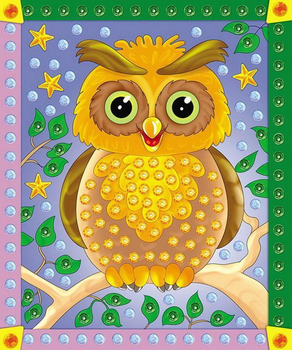 Купить Мозаика из пайеток формат А4 – Сова, Рыжий Кот