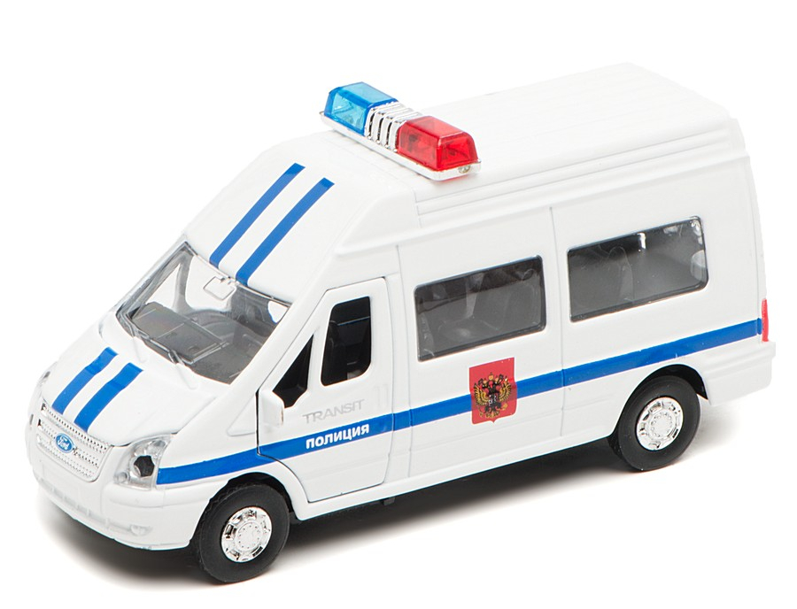 Купить Машина металлическая инерционная Ford Transit - Полиция, со светом и звуком, Технопарк