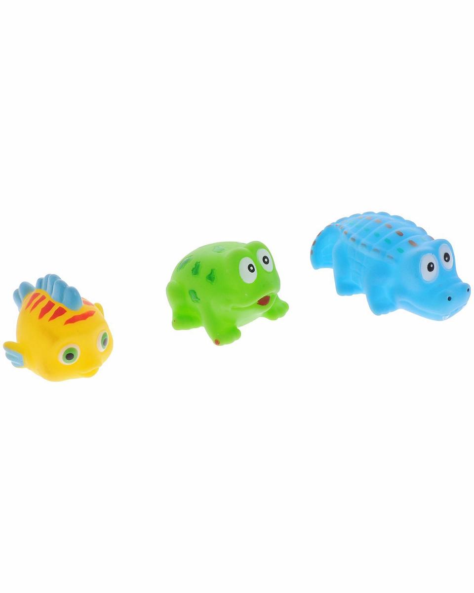 Набор резиновых зверьков для купания - Веселое купание, 3 предметаРезиновые игрушки<br>Набор резиновых зверьков для купания - Веселое купание, 3 предмета<br>