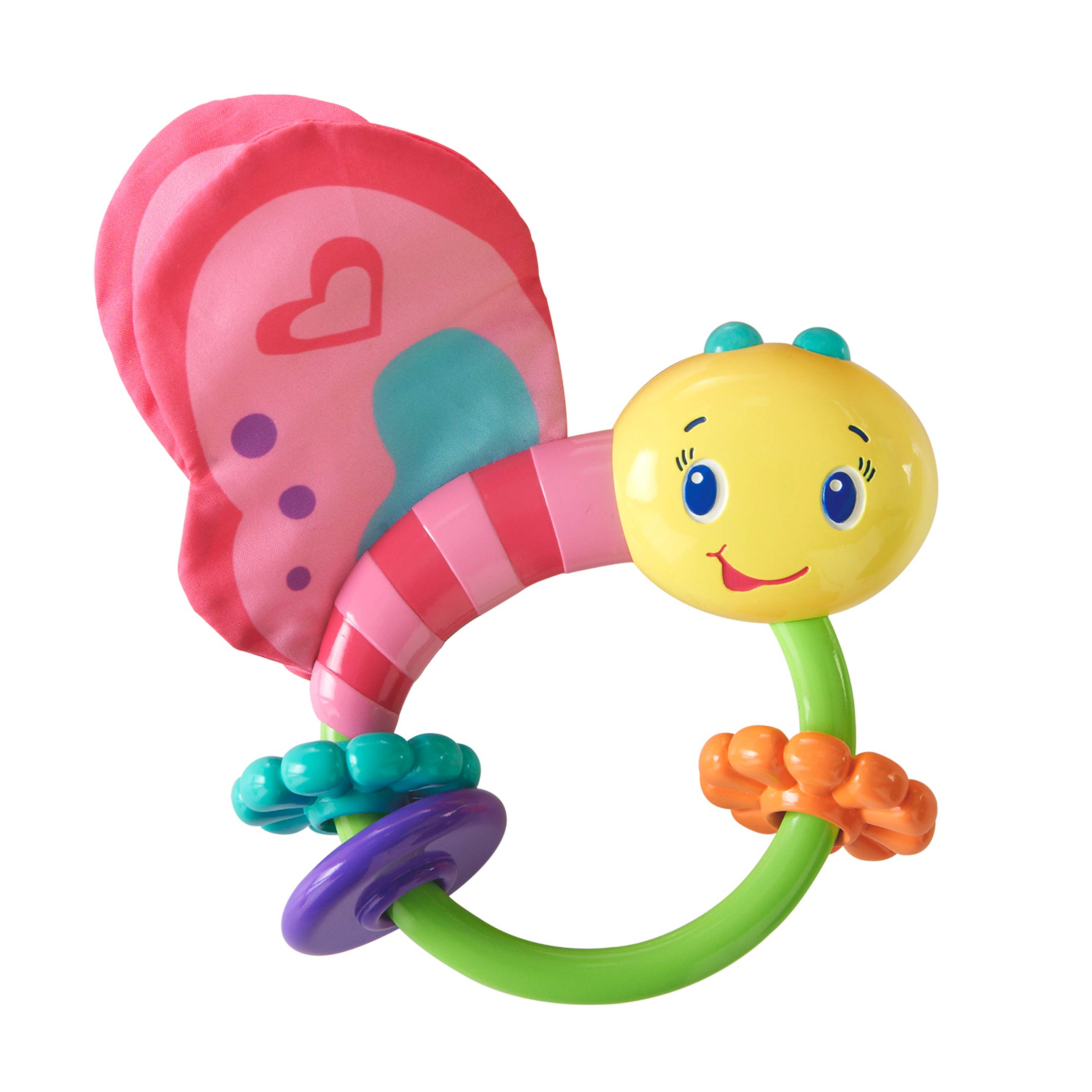 Развивающая игрушка-погремушка «Розовая бабочка»Детские погремушки и подвесные игрушки на кроватку<br>Развивающая игрушка-погремушка «Розовая бабочка»<br>