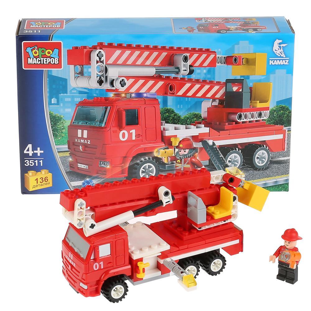 Купить Конструктор Камаз - Пожарная машина с люлькой, 136 деталей, Город мастеров