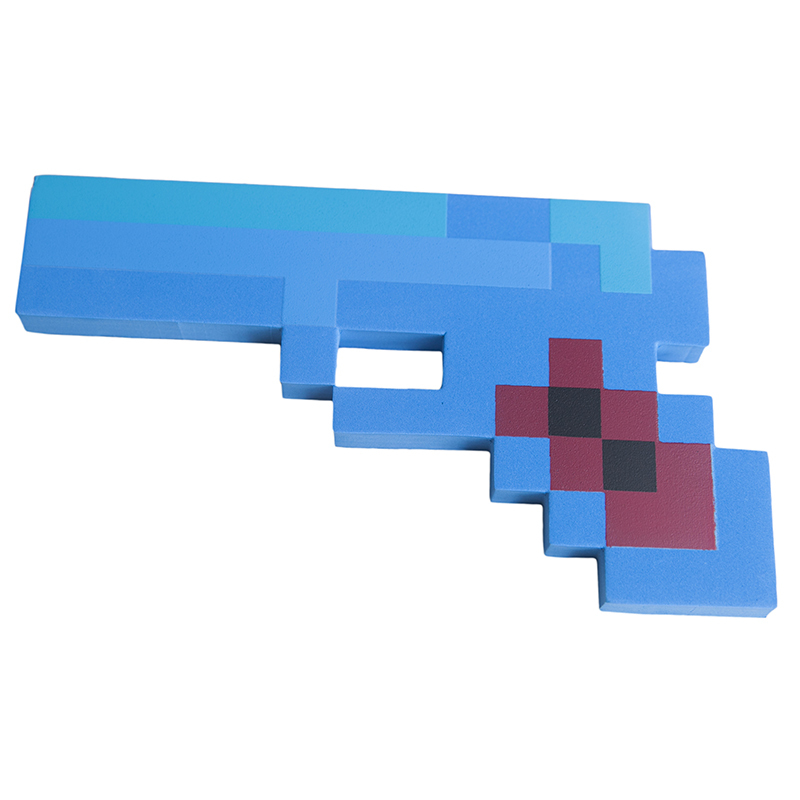 Купить Пистолет 8 Бит, синий пиксельный, 22 см, Pixel Crew