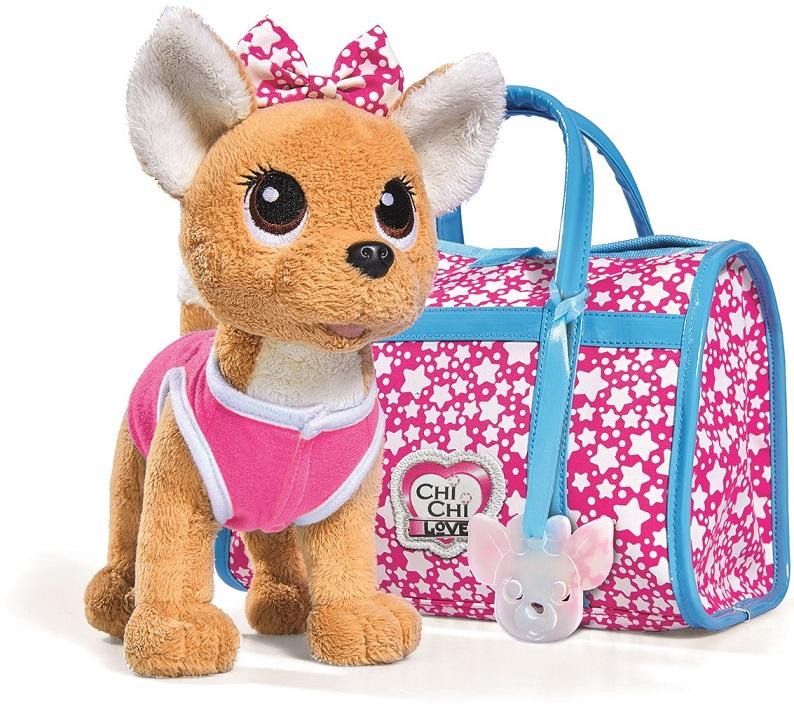 Плюшевая собачка Chi-Chi love - Звездный стиль, с сумочкой, 20 смChi Chi Love - cобачки в сумочке<br>Плюшевая собачка Chi-Chi love - Звездный стиль, с сумочкой, 20 см<br>