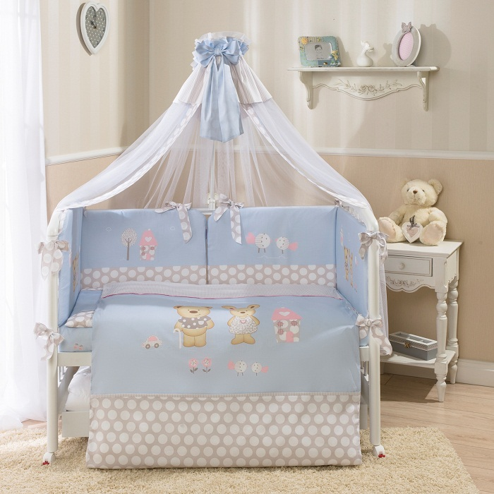 Комплект постельного белья Венеция, голубойДетское постельное белье<br>Комплект постельного белья Венеция, голубой<br>