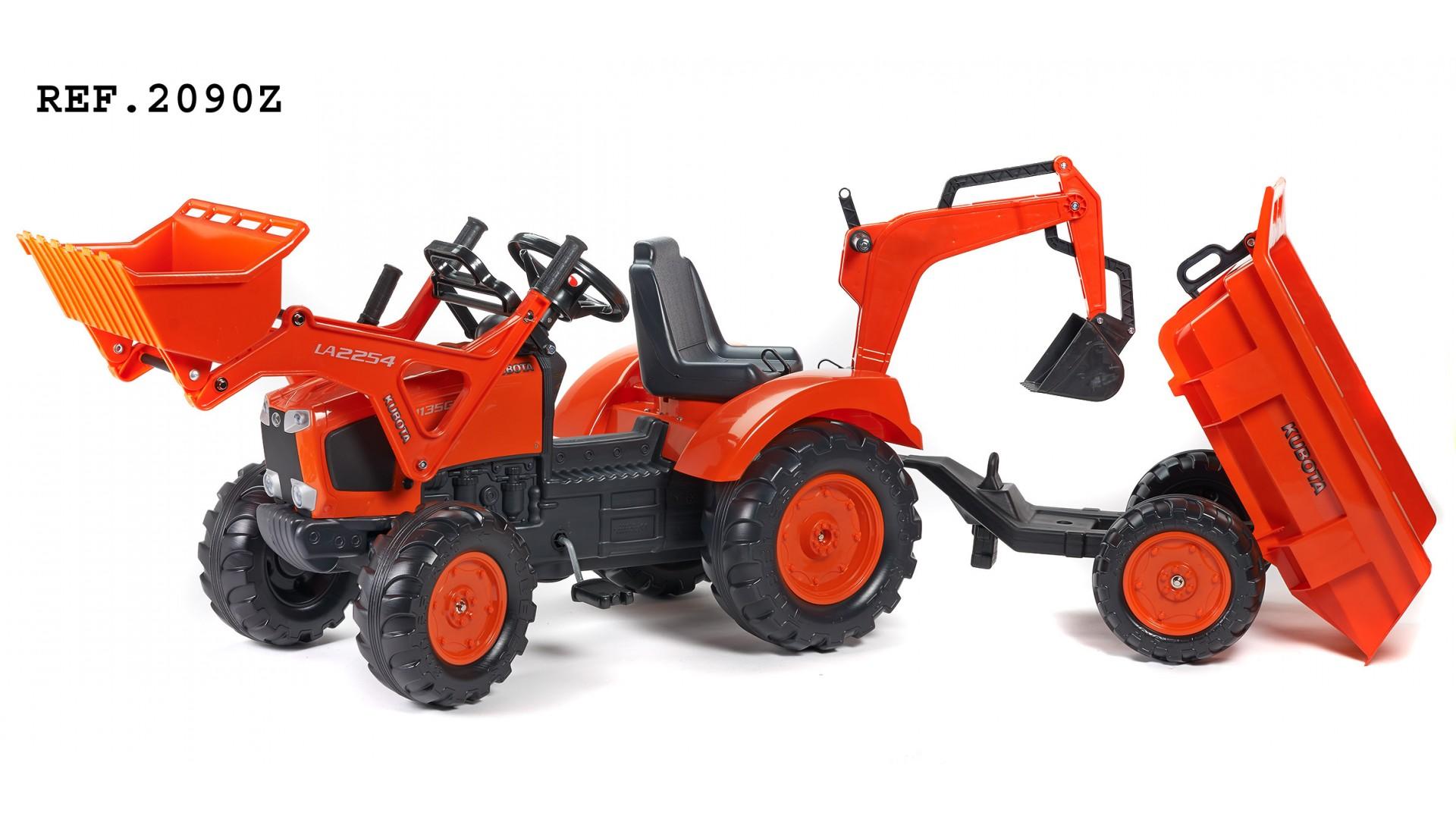 Трактор-экскаватор педальный с прицепом Kubota M135GX, красный 219 см