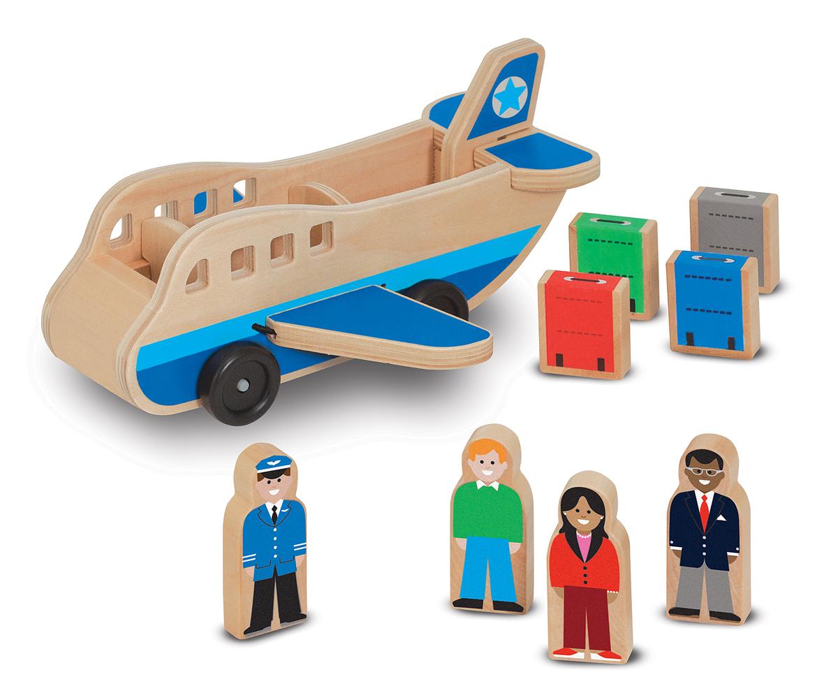 Деревянный аэроплан с фигурками и багажомПаровозики и машинки<br>Деревянный аэроплан с фигурками и багажом<br>