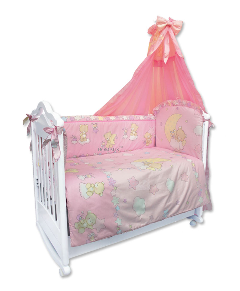 Комплект в кроватку - Павлуша, 7 предметов, розовыйДетское постельное белье<br>Комплект в кроватку - Павлуша, 7 предметов, розовый<br>