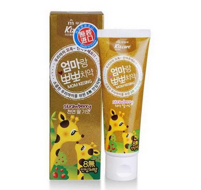 Купить Детская гелевая зубная паста со вкусом земляники - Kizcare Kiss mom, 80 мл, Mukunghwa