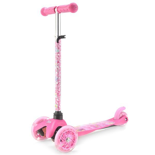 Самокат 3-колесный из серии Barbie, управление наклоном, светящиеся колеса 120 и 80 мм., регулируемый рульТрехколесные самокаты<br>Самокат 3-колесный из серии Barbie, управление наклоном, светящиеся колеса 120 и 80 мм., регулируемый руль<br>