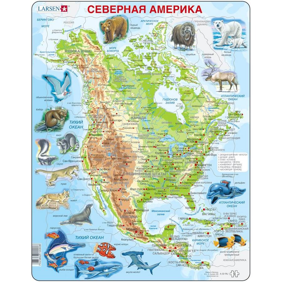 Пазл-головоломка - Карта Северной Америки с животными, 66 элементов
