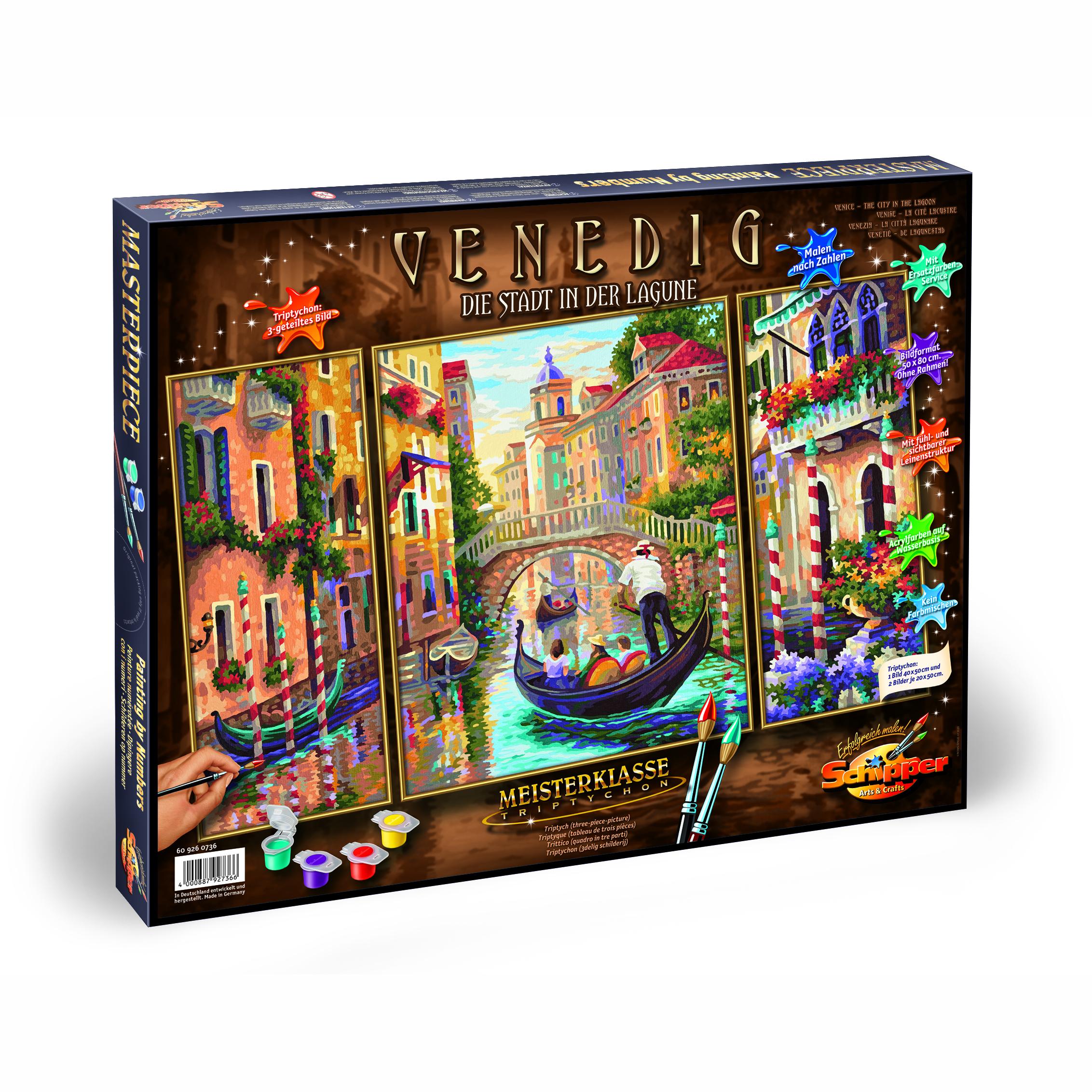 Раскраска по номерам – Триптих, Венеция - город в Лагуне, 50 х 80 смРаскраски по номерам Schipper<br>Раскраска по номерам – Триптих, Венеция - город в Лагуне, 50 х 80 см<br>