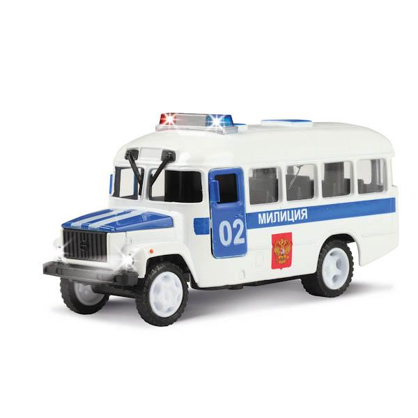 Купить Машина металлическая инерционная КАВЗ Полиция, открываются двери и капот, свет и звук, Технопарк