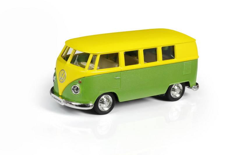 Купить Металлический автобус инерционный - Volkswagen Type 2 Transporter, цвет желтый с зеленым, масштаб 1:32, RMZ City
