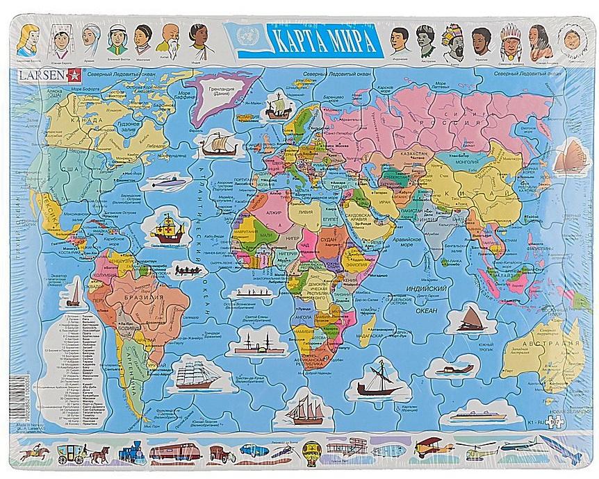 Пазл - Карта мира, 107 элементов, русскийПазлы 100+ элементов<br>Пазл - Карта мира, 107 элементов, русский<br>