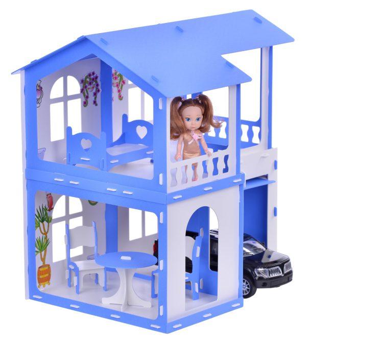 Дом для кукол Алиса, бело-синий, с мебелью