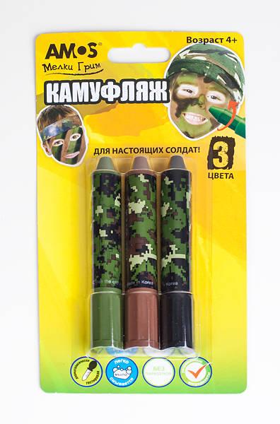 Грим-мелки для мальчиков - Камуфляж, 3 цвета в картонной упаковке с европодвесомМелки<br>Грим-мелки для мальчиков - Камуфляж, 3 цвета в картонной упаковке с европодвесом<br>