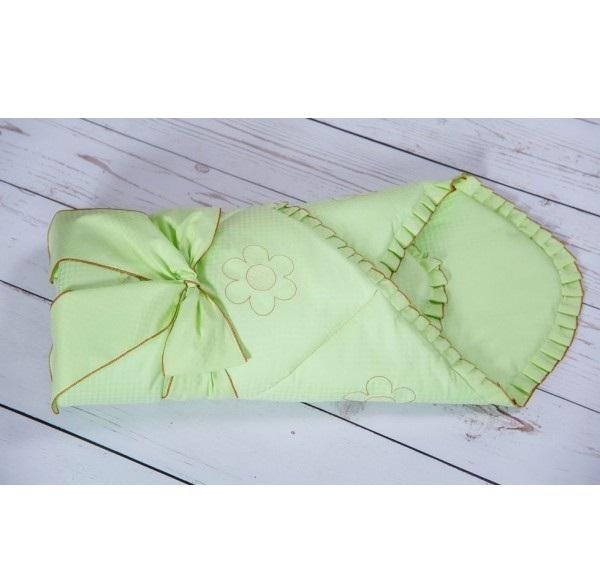 Конверт - одеяло на выписку из серии Ромашки, сезон весна, цвет зеленыйКомплекты на выписку<br>Конверт - одеяло на выписку из серии Ромашки, сезон весна, цвет зеленый<br>